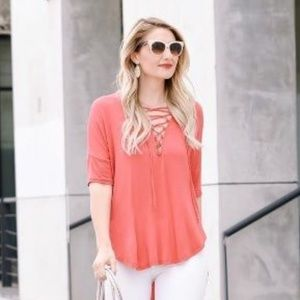 Lush | Coral Lace Up High-Low Tunic
